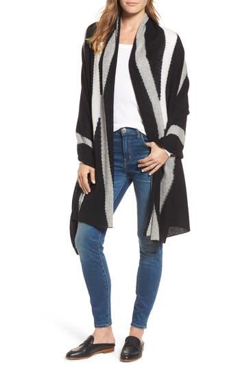 Women's White + Warren Travel Intarsia Cashmere Wrap, Size One Size - Black
