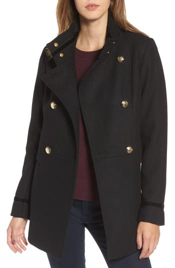 Women's Vince Camuto Wool Blend Military Coat, Size X-Small - Black