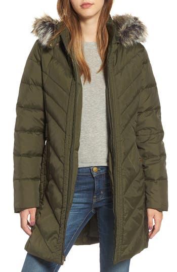Larry Levine Faux Fur Trim Hooded Jacket, Green