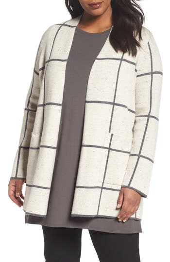 Plus Size Eileen Fisher Long Check Knit Jacket, Brown