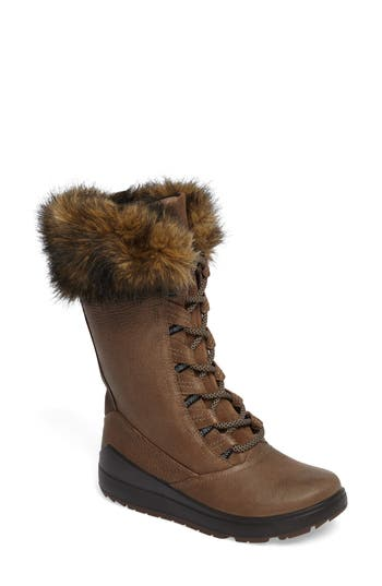 Ecco Noyce Siberia Hydromax Water Resistant Winter Boot With Faux Fur Trim, Brown