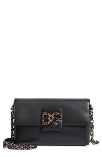 Dolce&gabbana Medium Millennials Embossed Leather Shoulder Bag - Black