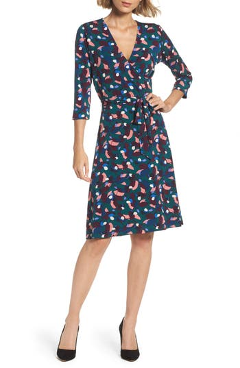 Women's Leota Print Jersey Faux Wrap Dress, Size X-Small - Green