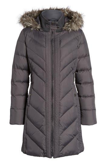 Larry Levine Faux Fur Trim Hooded Jacket, Grey