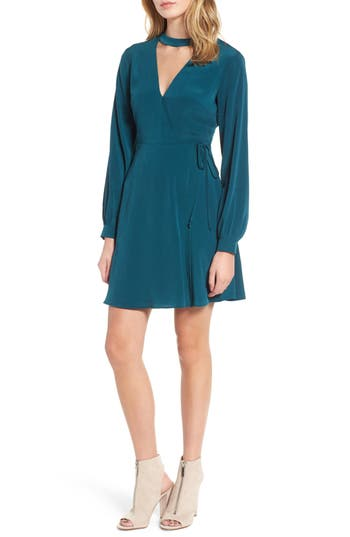 Women's Choker Neck Wrap Dress, Size Small - Green