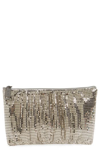 Whiting & Davis Shirred Mesh Pouch Clutch - Grey