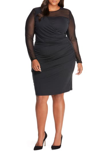 Plus Size Women's Rebel Wilson X Angels Faux Wrap Dress, Size 1X - Black