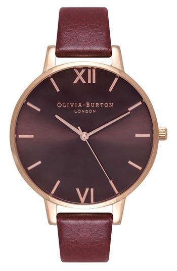 Women's Olivia Burton Big Sunray Leather Strap Watch, 38Mm