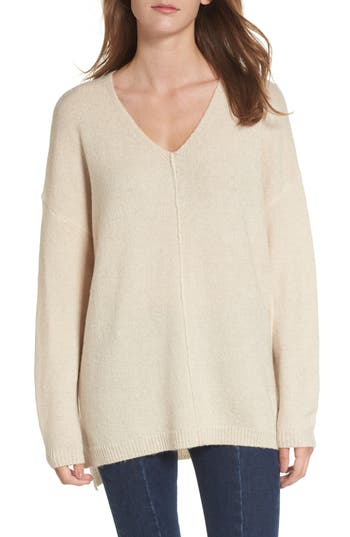 Women's Dreamers By Debut Exposed Seam Tunic Sweater, Size X-Small - Ivory