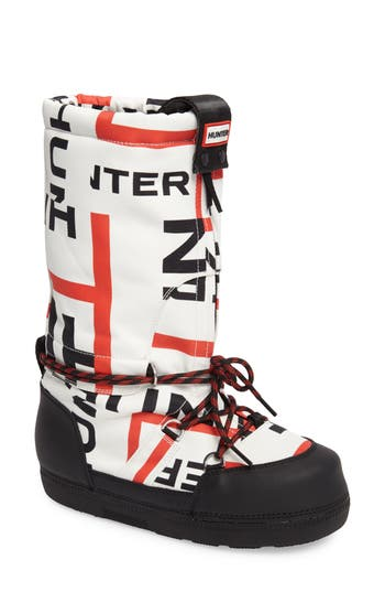 Hunter Original Exploded Logo Snow Boot, Black