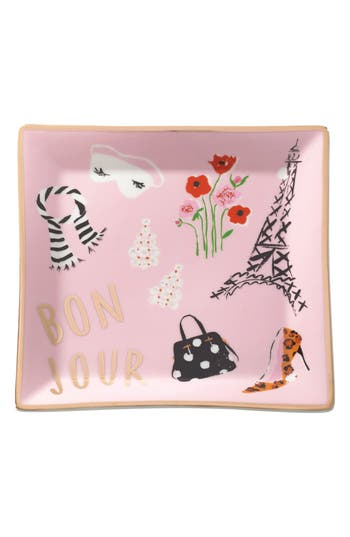 Kate Spade New York Square Porcelain Trinket Tray, Size One Size - Pink