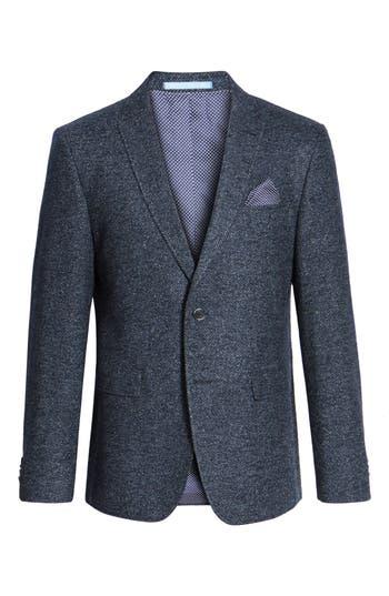 Men's Sand Trim Fit Herringbone Wool Blend Sport Coat