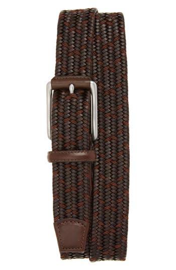 Torino Belts Woven Mixed Media Belt, Brown/ Cocoa