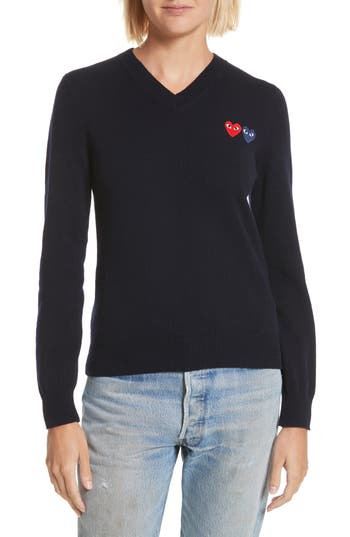 Comme Des Garcons Play Double Heart Wool Sweater, Blue