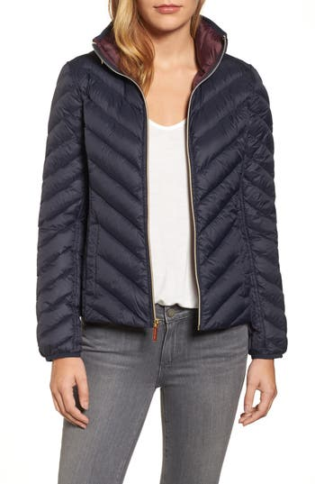 Michael Michael Kors Chevron Quilted Packable Down Puffer Jacket With Stowaway Hood, Blue