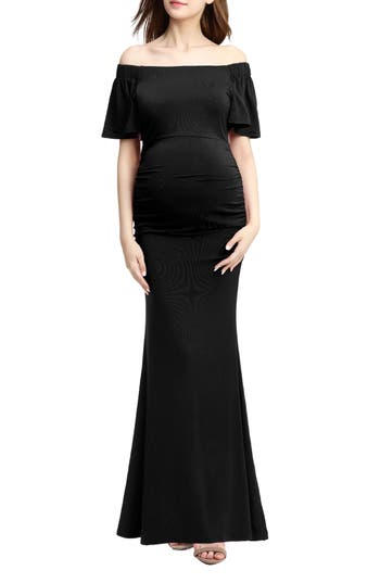 Vintage Style Maternity Clothes Womens Kimi And Kai Abigail Off The Shoulder Maternity Dress $98.00 AT vintagedancer.com