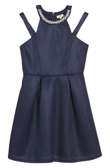 Girl's Monteau Couture Cold Shoulder Dress
