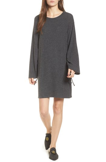 One Clothing Ruched Sleeve Sweater Dress, Grey