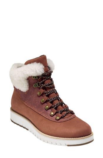 Cole Haan Grandexpl?re Genuine Shearling Trim Waterproof Hiker Boot, Brown