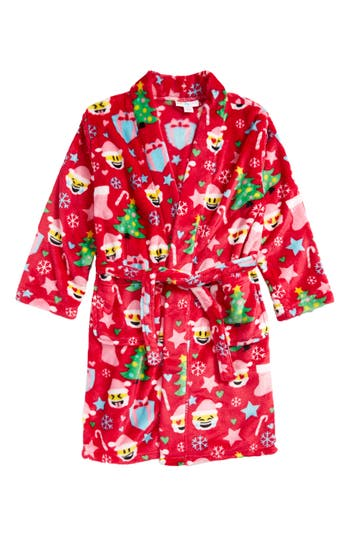 Girl's Candy Pink Christmas Emoji Robe, Size 4-5 - Pink