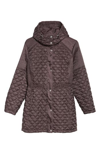 Plus Size Andrew Marc Quilted Down Jacket, Grey