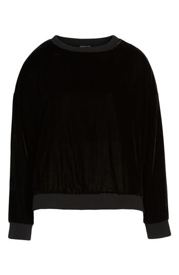 Kenneth Cole New York Zipper Velvet Sweatshirt, Black