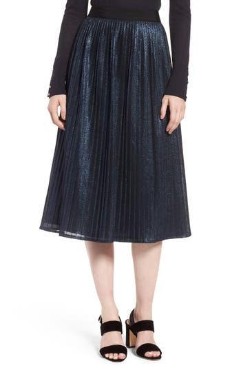 Women's Boss Miplisa Metallic Pleated Midi Skirt, Size 14 - Blue