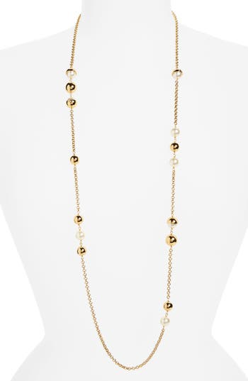 Women's Tory Burch Imitation Pearl Station Necklace