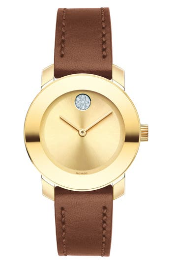 Women's Movado Bold Crystal Accent Leather Strap Watch, 30Mm