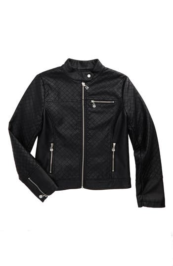 Girl's Coffeeshop Kids Quilted Faux Leather Jacket