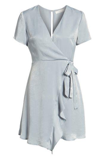 Women's Satin Faux Wrap Dress, Size X-Small - Blue