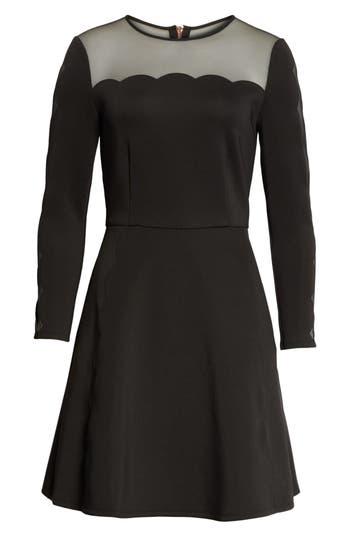 Ted Baker London Kikoh Mesh Panel Skater Dress, Black