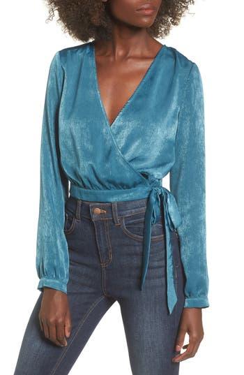 Women's J.o.a. Wrap Crop Top, Size X-Small - Blue/green
