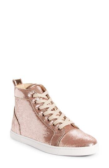 Women's Christian Louboutin Bip Bip Sequin High Top Sneaker, Size 6US / 36EU - Beige