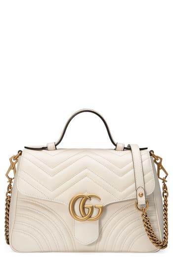 Gucci Small Gg Marmont 2.0 Matelasse Leather Top Handle Bag - White