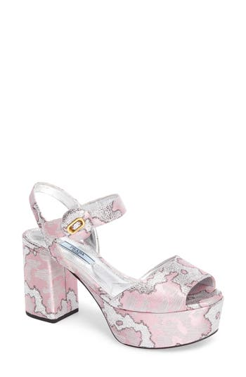 Women's Prada Ankle Strap Platform Sandal
