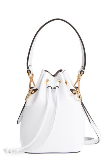 Fendi Leathers MINI LEATHER BUCKET BAG - WHITE
