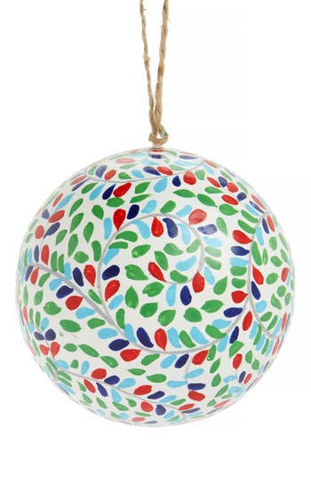 Nordstrom At Home Global Folk Ball Ornament, Size One Size - Ivory