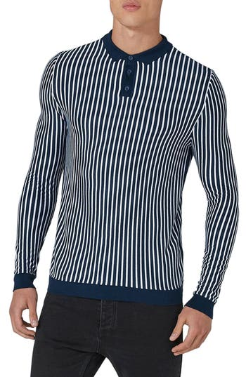 Men's Topman Stripe Knit Polo Sweater, Size Large - Blue