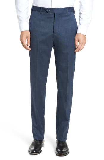 Men's Zanella Devon Flat Front Stretch Solid Wool Trousers
