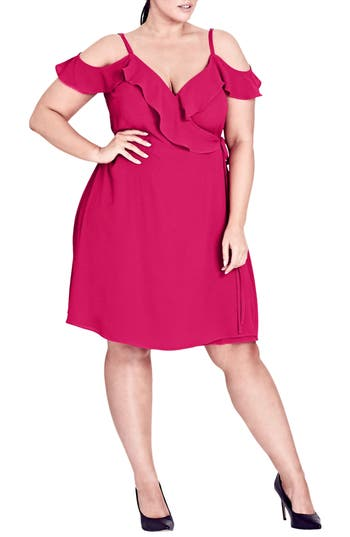 Plus Size Women's City Chic Lulu Faux Wrap Dress, Size Small - Pink