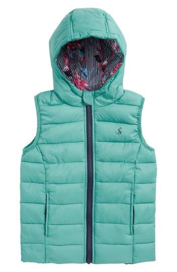 Girl's Joules Printed Packaway Vest, Size 5Y - Green