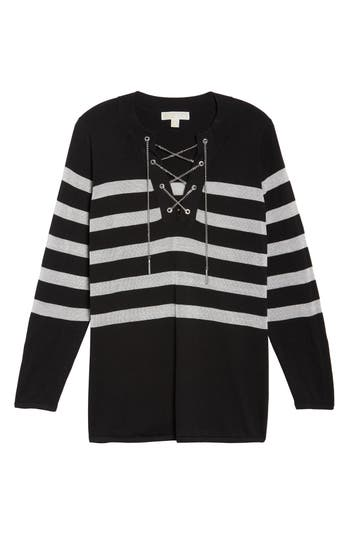 Plus Size Women's Michael Michael Kors Chain Lace-Up Stripe Sweater, Size 0X - Black