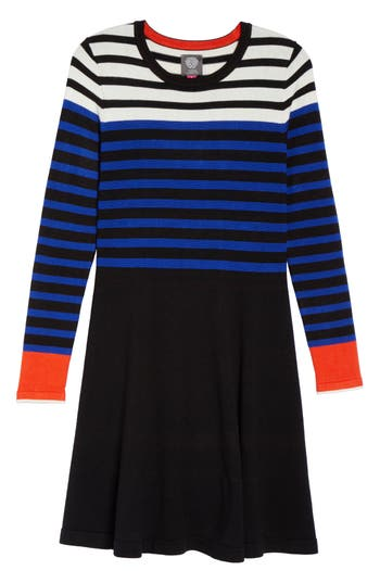 Women's Vince Camuto Stripe Sweater Fit & Flare Dress, Size X-Small - Black