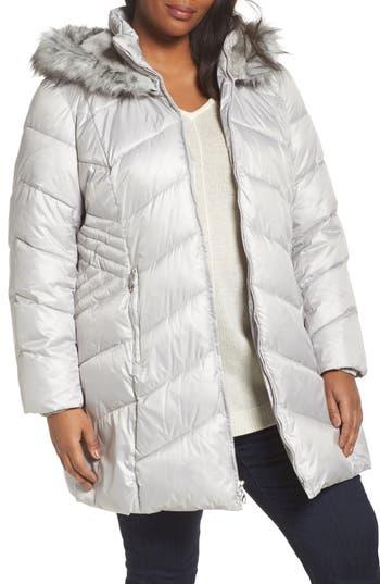 Plus Size Gallery Faux Fur Trim Quilted Parka, Beige