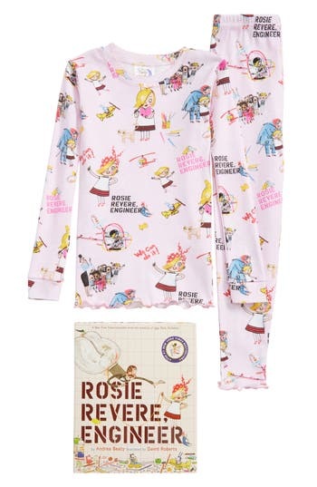 Girl's Books To Bed Rosie Revere, Engineer Fitted Two-Piece Pajamas & Book Set