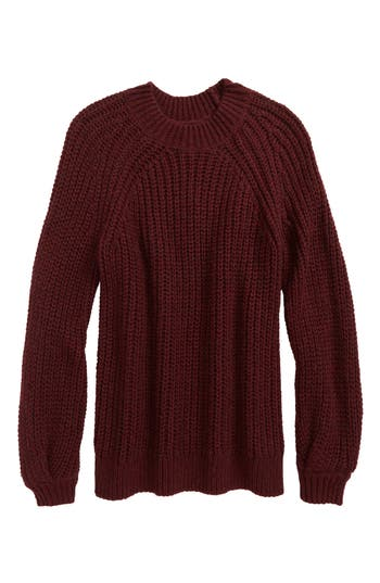 Girl's Treasure & Bond Bubble Sleeve Sweater, Size S (7-8) - Burgundy