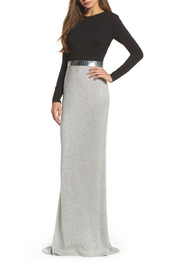 Women's MAC Duggal Embellished Metallic Mixed Media Gown