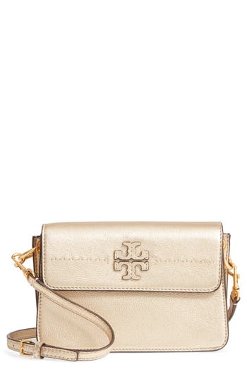 Tory Burch Mcgraw Metallic Leather Shoulder Bag -
