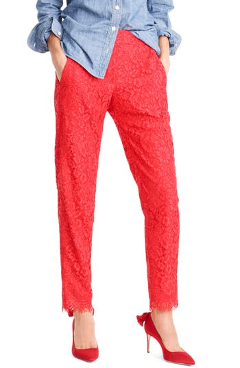 Petite Women's J.crew Lace Pants, Size 2P - Red